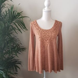 Long Sleeved Sweater with Crocheted Lace Neck